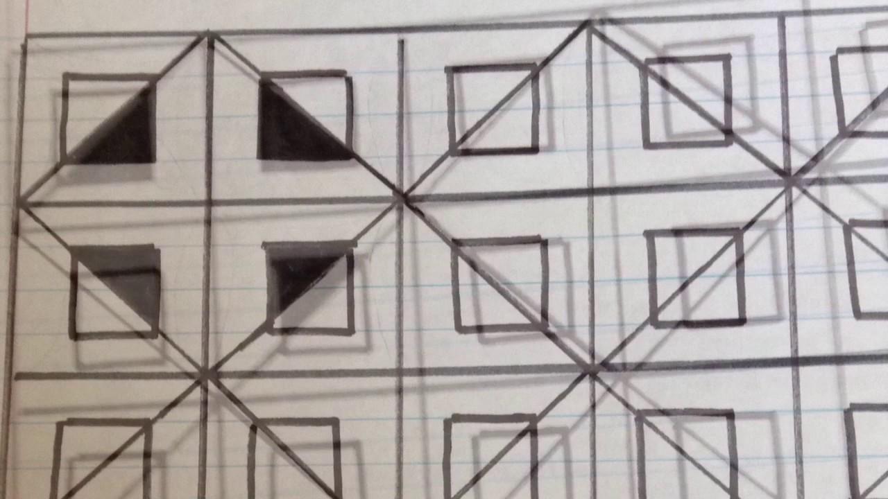 رسم زخرفة المربعات المتشابكة 3dلاستخدامها كديكور للبيت بشكل بسيط رقم 7 Youtube