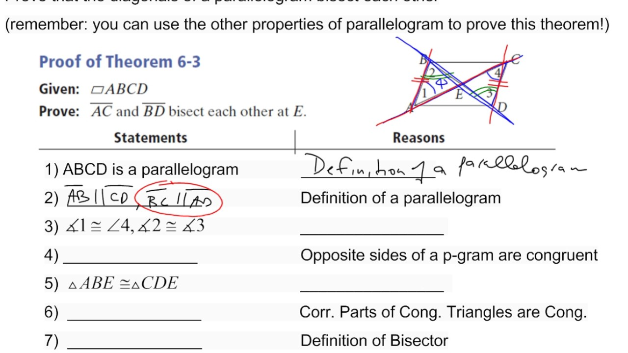Proof of properties of a parallelogram diagonals bisect each other