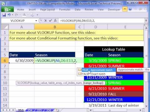 Excel Magic Trick 353: Date VLOOKUP for Seasons