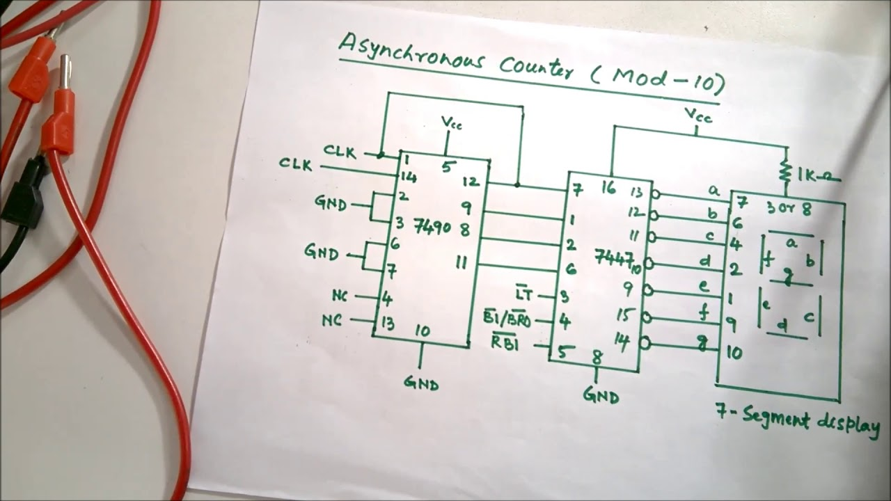Asynchronous counter of mod-10 using IC 7490 and display on 7-segment  display using IC 7447