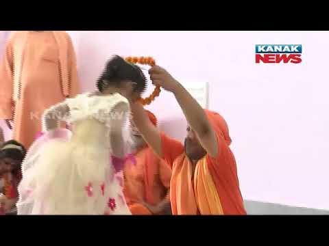 "Download UP CM Yogi Adityanath Performs ""Kanya Pujan"", Serves Food To Girls"
