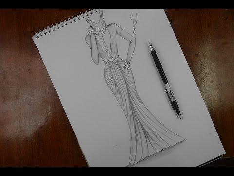 تصميم الازياء تعلم رسم فستان مميز للمحجبات Youtube