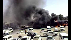 Fire. Burning crane in front of al jimi workers village Musaffah Abu Dhabi.