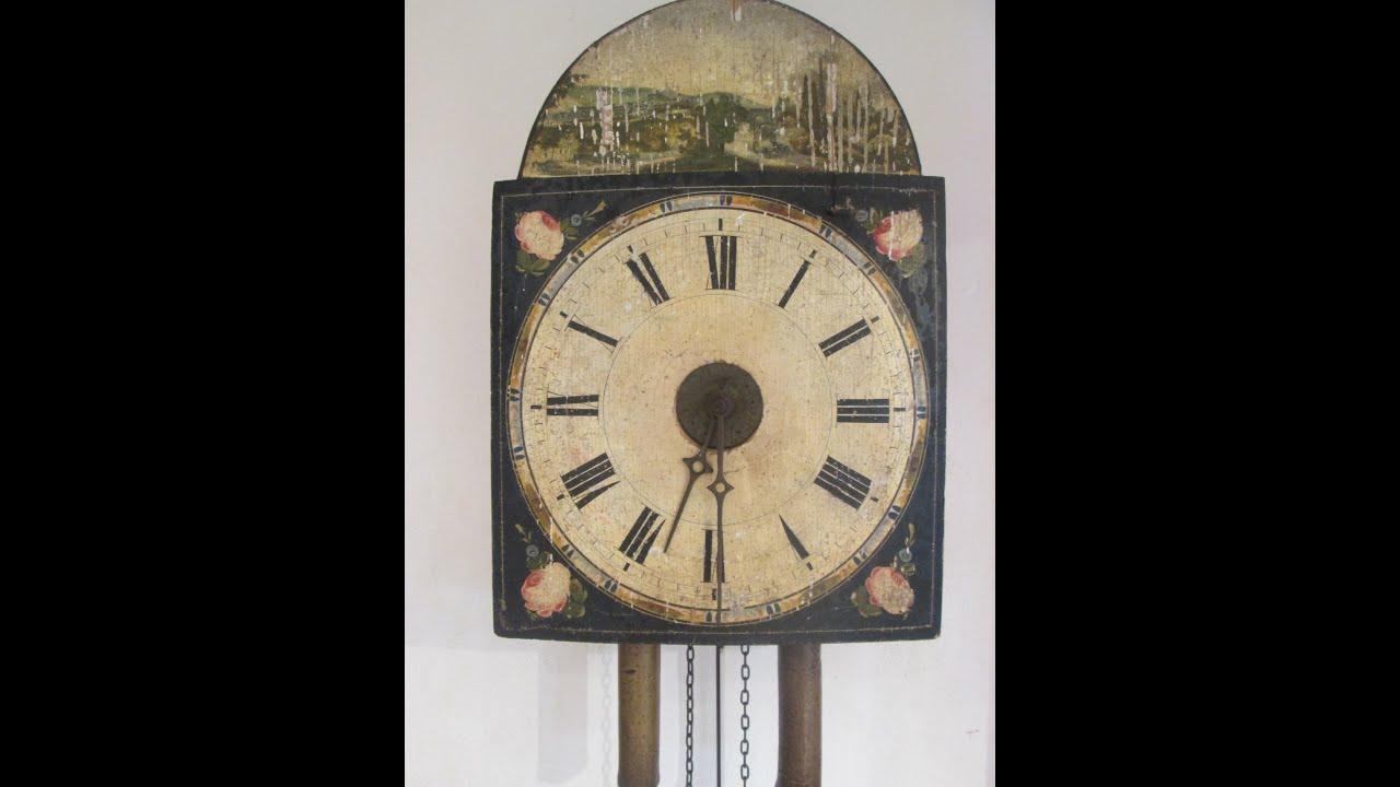 Antique black forest shield clock lackschilduhr 19th - Relojes grandes de pared vintage ...
