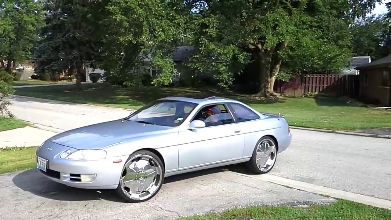 "1995 lexus sc400 (ice blue on 22""s) super clean .. rolling - youtube"