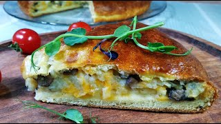 Пирог на кефире с картошкой грибами Очень быстро и просто Рецепты моей кухни