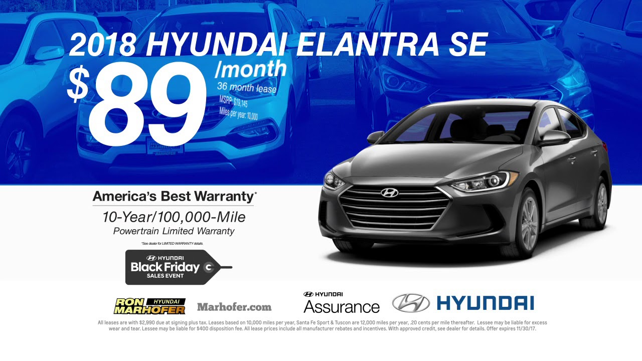Ron Marhofer Hyundai November 2017 Specials Youtube