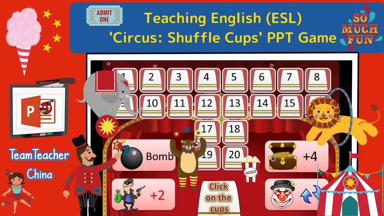 Circus: Shuffle Cups PPT Game (Powerpoint Game)