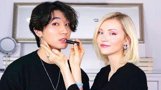 Giving My Boyfriend A Korean Natural Male Makeup - International Couple