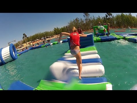 Wake Island Water Park: Aqua Park Obstacle Course. Sacramento, California