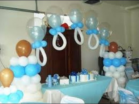 Decoraci n con globos para baby shower youtube for Arreglos de salon con globos