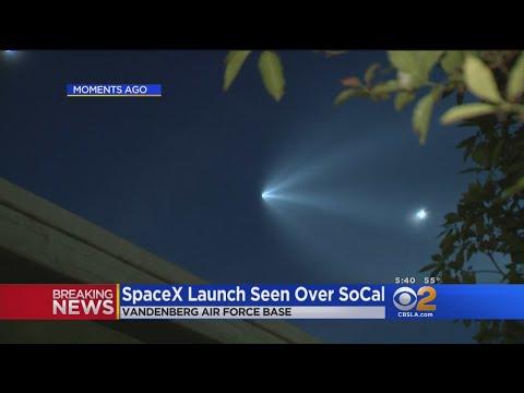Reused SpaceX Rocket From Vandenberg AFB Lights Up Night In LA