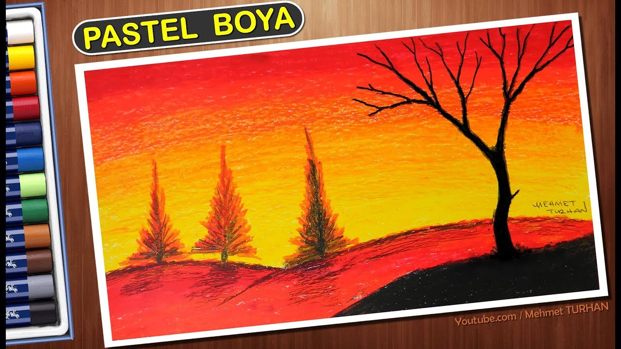 Pastel Boya Gun Batimi Manzara Cizimi How To Draw Oil Crayons