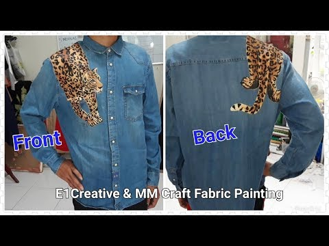 Leopard Painting On Denim Shirts Front And Back, How To Paint Leopard
