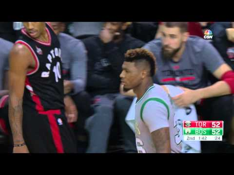 Marcus Smart Hits a Three While Falling Out of Bounds