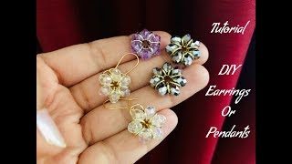 Simple flower Earrings with jump rings & crystals.Cute project