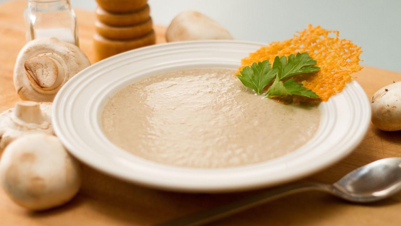 Crème de champignons et tuiles de parmesan - YouTube