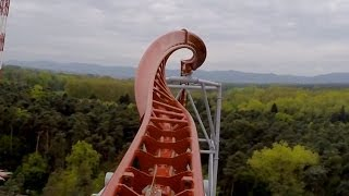 Sky Scream Roller Coaster POV Premier Launched Ride Holiday Park Germany Achterbahn