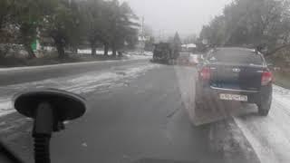 Камаз кувыркнулся. Снегопад. Скользко. Челябинская область город Миасс