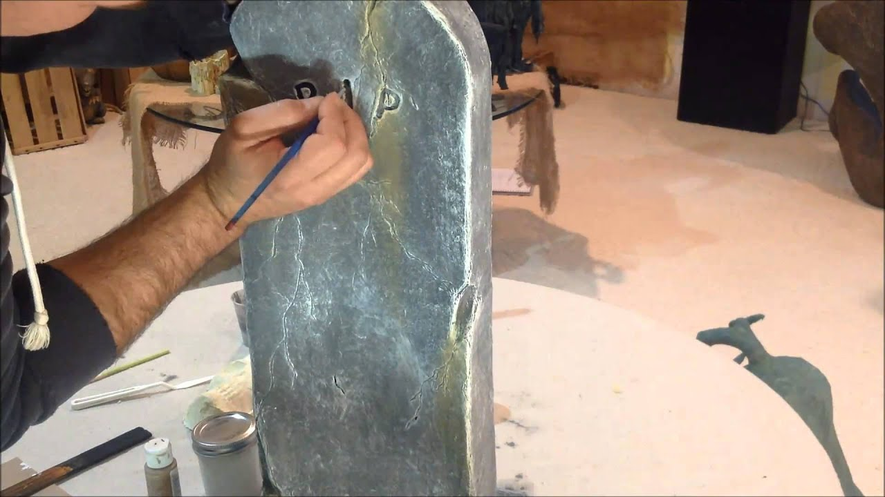 Paper Mache Halloween Tombstone Decoration - YouTube