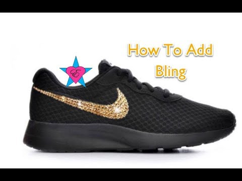 317d83d6e DIY ~ How to Add Bling to Shoes - Black and Gold NikeTanjun - YouTube