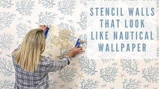 How To Paint Walls With Nautical Wall Stencils featuring Benjamin Moore Paint