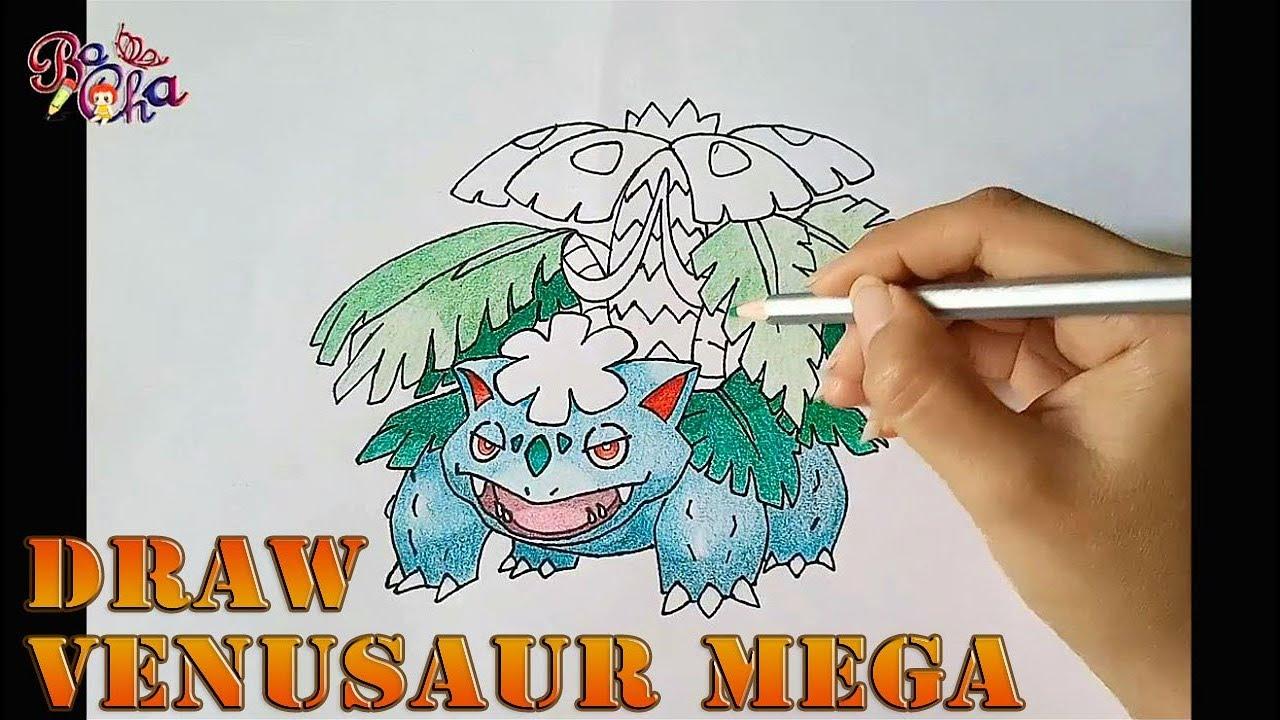 vẽ Pokemon Fushigibana mega (venusaur mega) và tô màu –  how to draw Pokemon Venusaur mega – BoCha