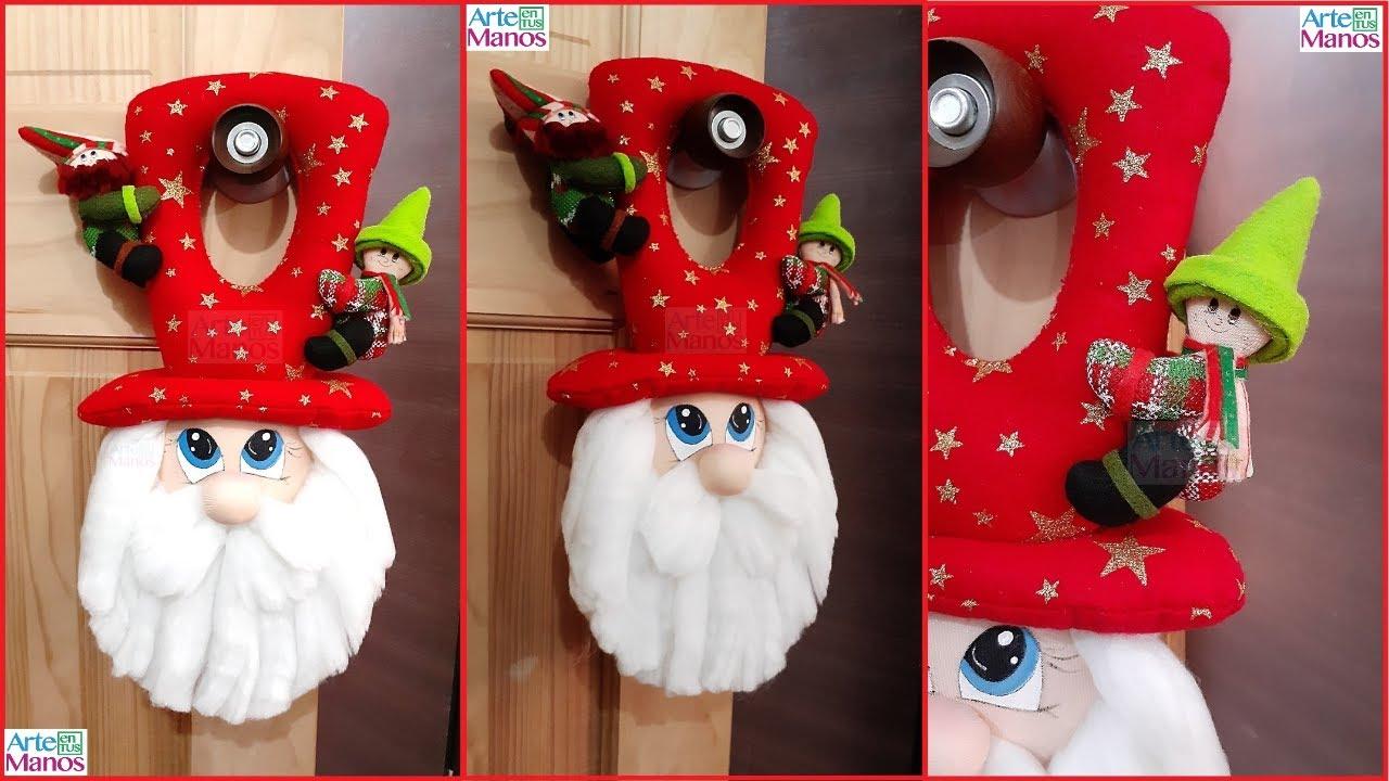 Decoremos Con Santa Claus Como Hacer Un Cuelga Puerta Navideno En Fieltro Youtube
