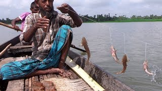 A Lot of Fish Catching by Traditional Hook Fishing