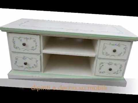 Cassapanca provenzale porta tv dipinta e decorata in stile classico ...