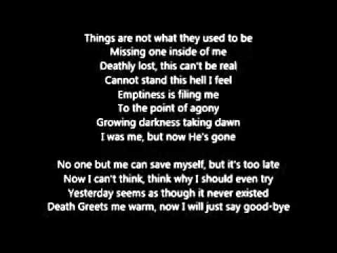 Lyrics containing the term: fade to black