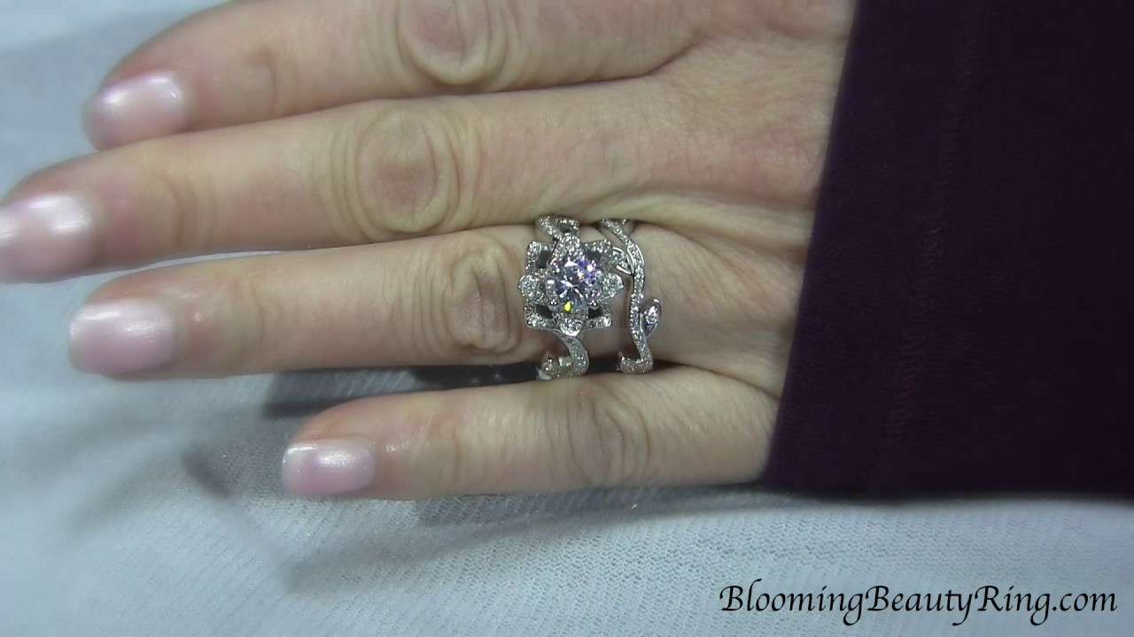 Flower Engagement Ring And Matching Wedding Ring Set By
