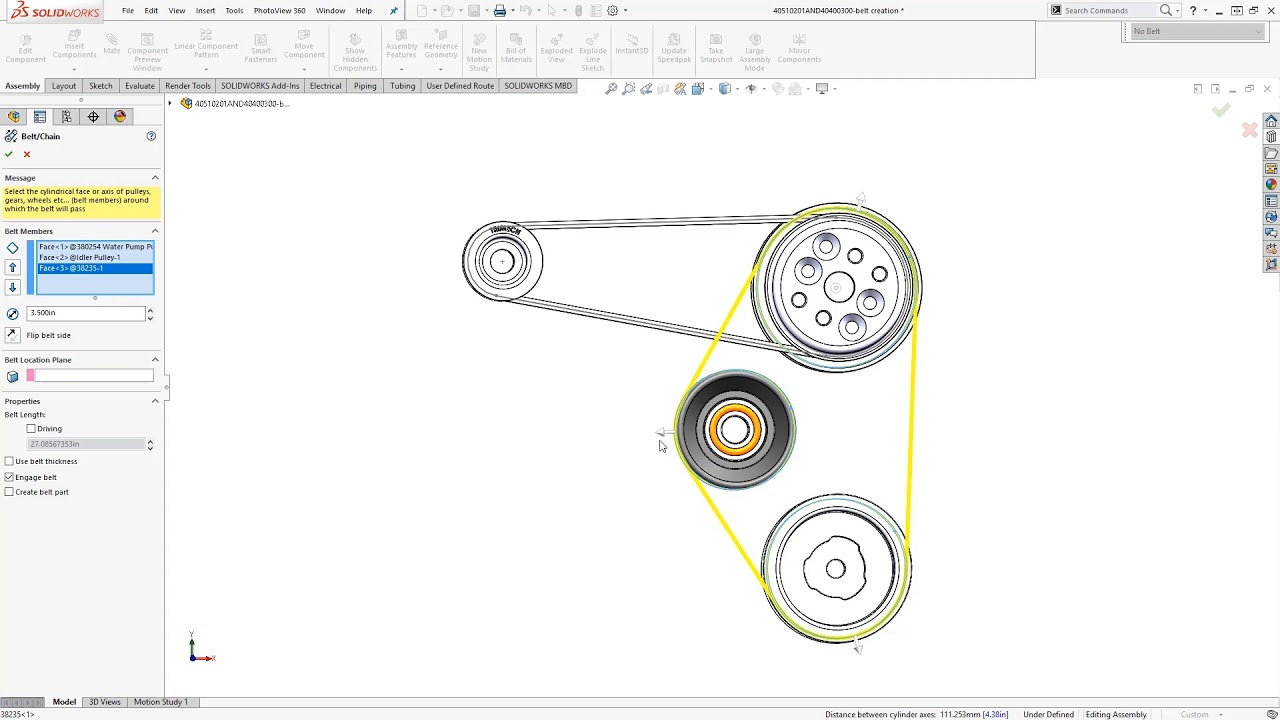 Video Tech Tip: Using the Belt/Chain Assembly Feature in SOLIDWORKS