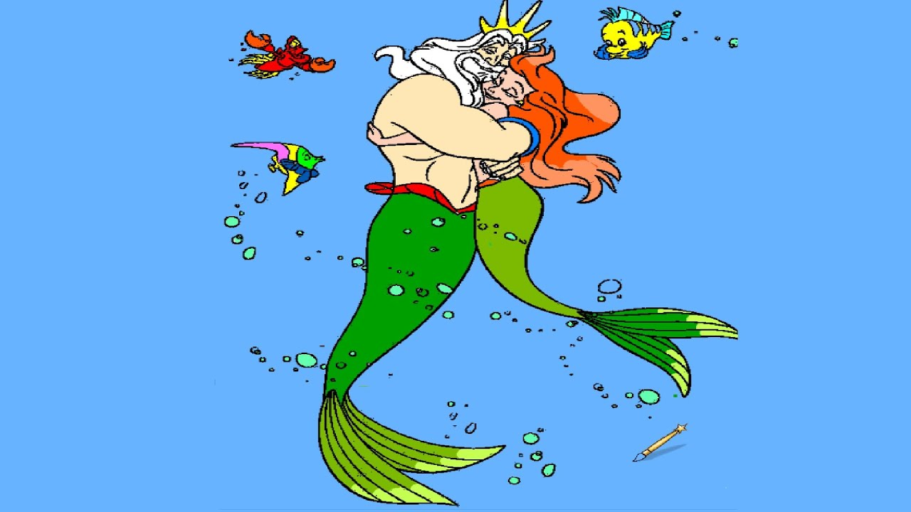 The Little Mermaid King Triton Coloring Page - YouTube