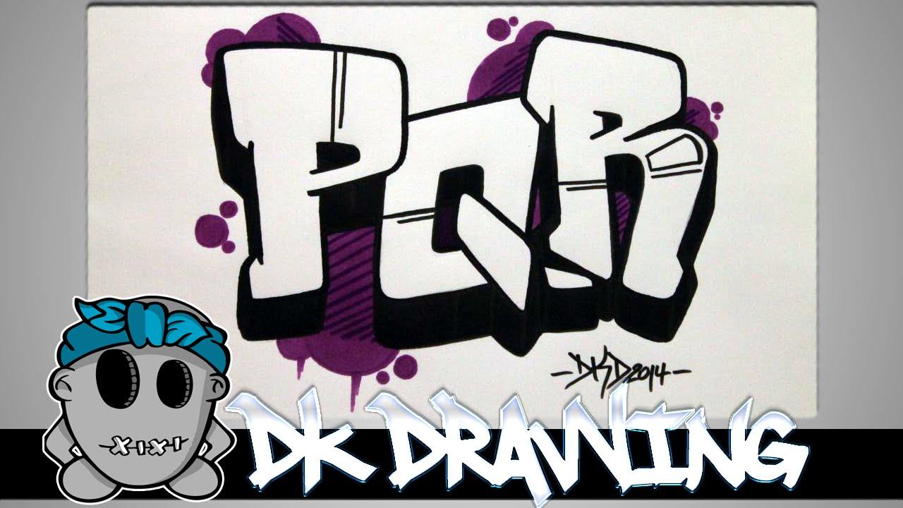 How to draw graffiti - Graffiti Letters PQR step by step ...Step By Step How To Draw Graffiti Characters