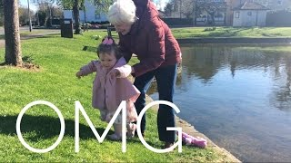 GRANDMA FALLS IN POND?!