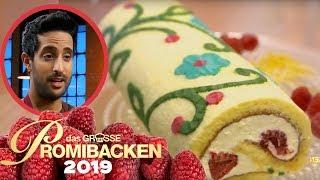 25 cm Biskuit Rolle: Sami ist Deko-Profi 1/2 | Aufgabe | Das große Promibacken 2019 | SAT.1 TV