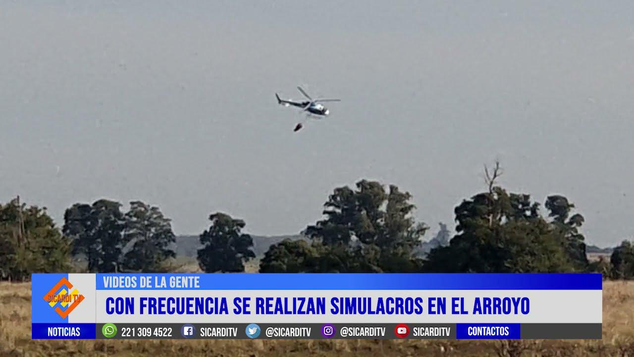 """VIdeo de la Gente: Un helicóptero """"tomando agua"""" en el Arroyo"""