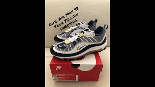 low priced efb01 1b76a Quick Unboxing Nike Air Max 98 Tour Yellow SNKRS