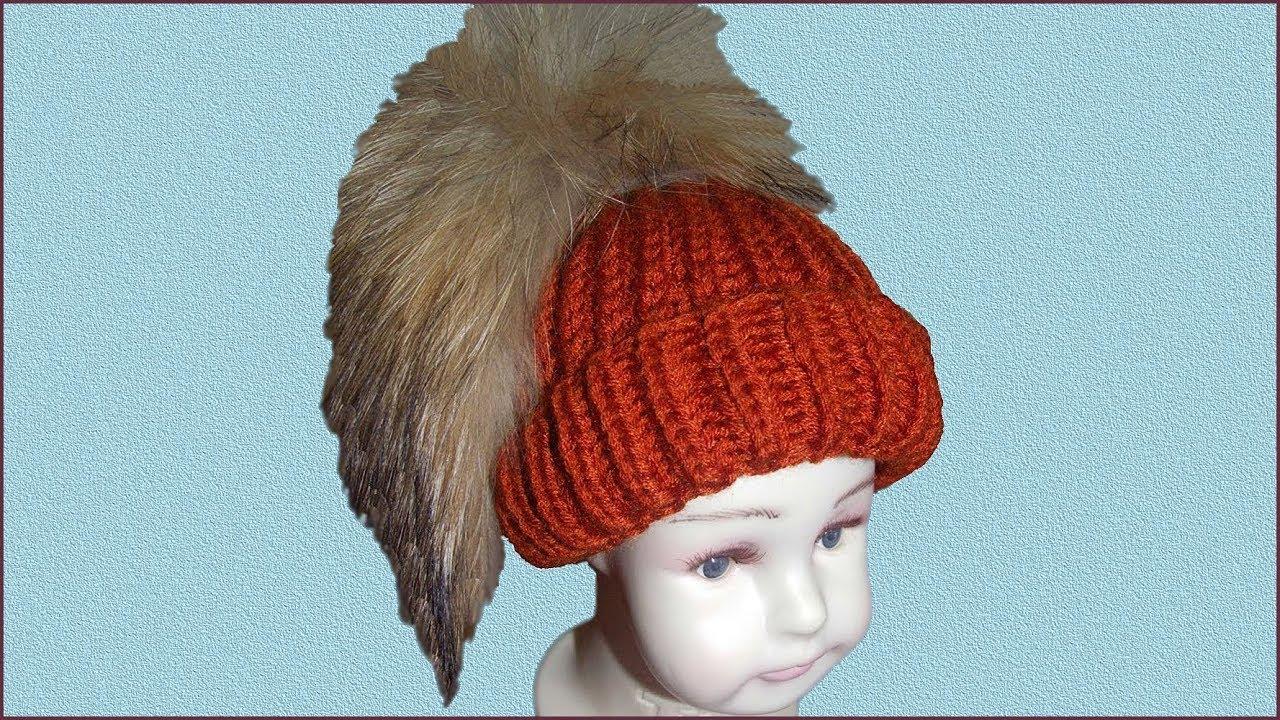 Шапка английской резинкой. Шапка с отворотом спицами. Вязание шапки спицами. (Knitting cap)