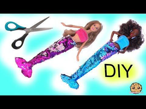 DIY Color Change Glam Barbie Doll Mermaid Tails ! No Sew Easy Craft