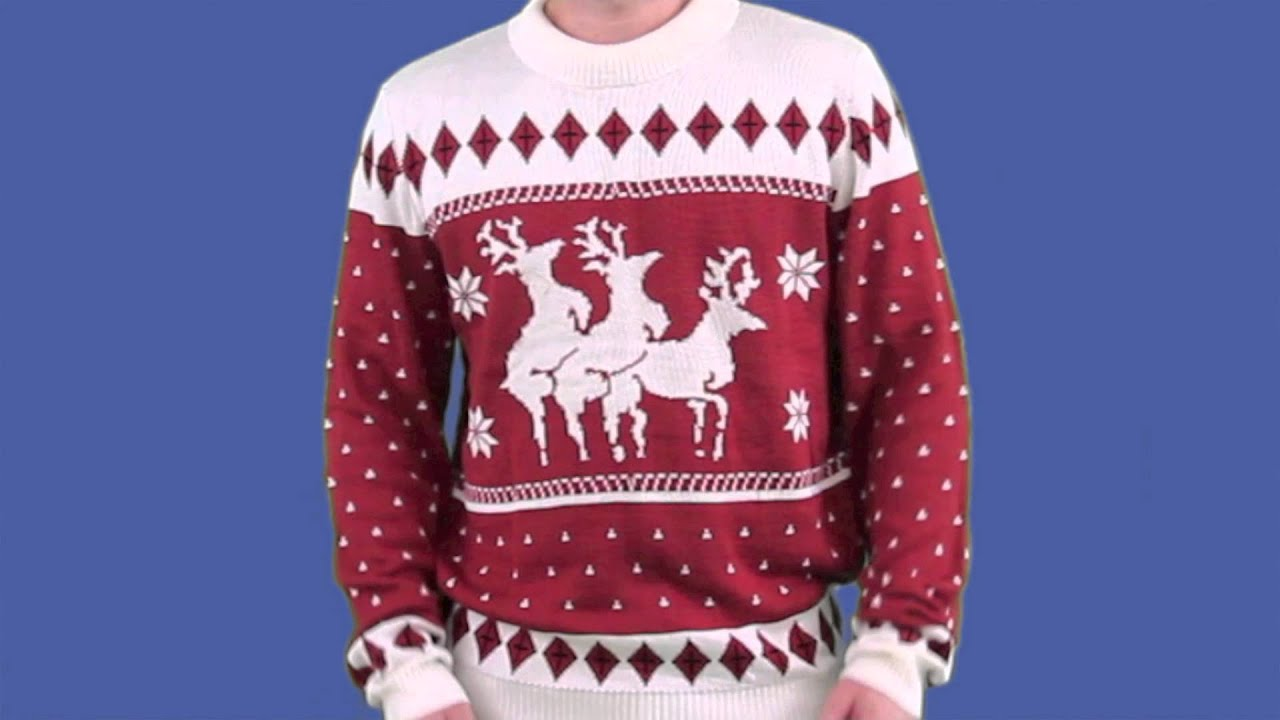5ce91acb99b Ugly Christmas Sweater - Reindeer Menage a Trois Sweater by Tipsy Elves
