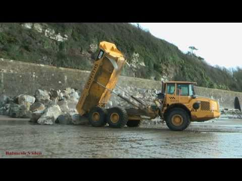 Ferryside Sea Defence - Dump Trucks on the Rocks!