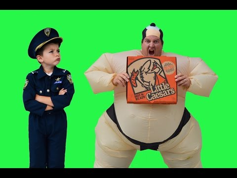 Sumo Pizza Delivery + Real Life Kid Cops Jail Video Funny YouTube Kids