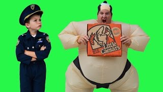 Repeat youtube video Sumo Pizza Delivery + Real Life Kid Cops Jail Video Funny YouTube Kids