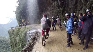Biking down the DEATH ROAD in Bolivia (GoPro Hero 3)(Check out this video of me and my friend biking down the death road in Bolivia during our gap year across South America. Filmed on a GoPro Hero 3 Chest and ..., 2014-11-09T12:46:34.000Z)
