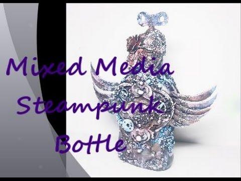 """""""Wings"""" Mixed Media Steampunk Bottle"""