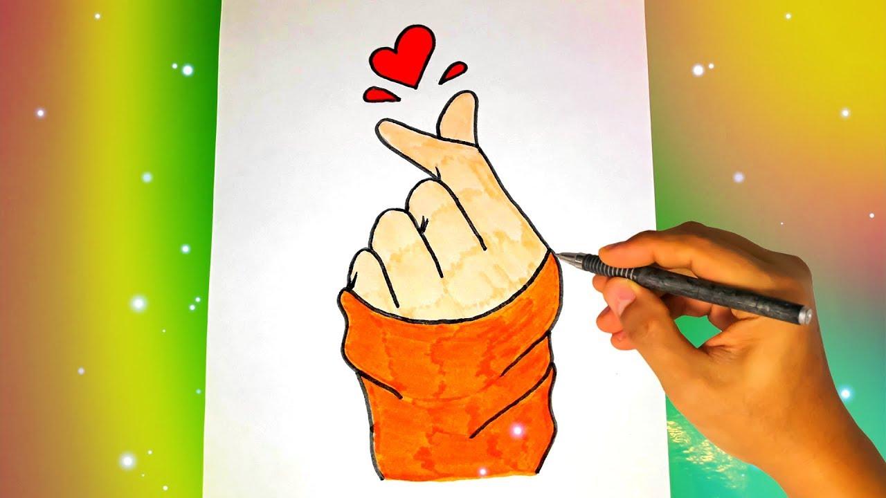 Как нарисовать САРАНХУЛИ - СЕРДЕЧКО ПАЛЬЦАМИ? Лёгкие рисунки для срисовки