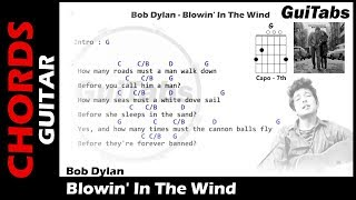 Bob Dylan - Blowin' In The Wind ( Lyrics and GuiTar Chords) 🎸