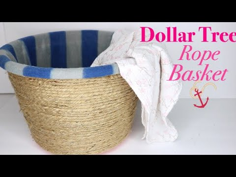 DOLLAR TREE DIY Rope Basket - No Sew Storage Basket